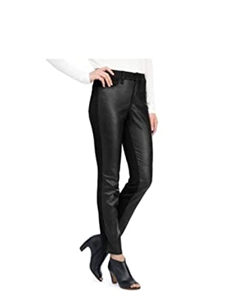 5202a595ca6cb Image Unavailable. Image not available for. Color: NYDJ Black Alina Legging  Faux Leather Front ...