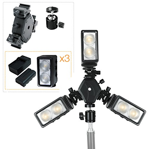 LS Photography Triple Mount Flash Light Bracket with Standard Shoe Mount Adapter and Umbrella Holder, Ball Head Adapter, and 3-Set 5600K LED Continuous Light with Rechargeable Battery, LGG735 by LS Photography