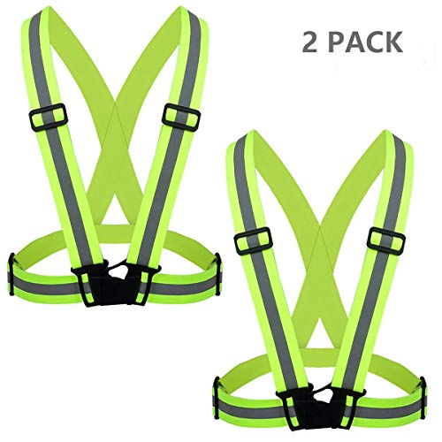 - Flytt Reflective Vest 2 Pack, Elastic and Adjustable Reflective Gear for Running, Walking, Jogging,Cycling,Motorcycle (Green)