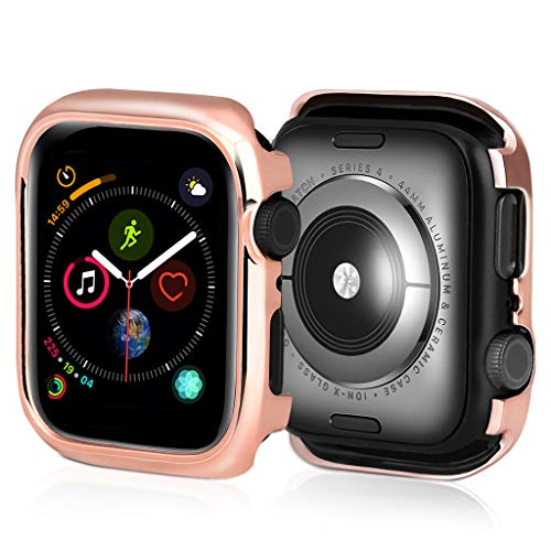 Kiorc Ultra-Slim Electroplate PC Protective Case Cover for Apple Watch Series 4 44mm Rose Gold