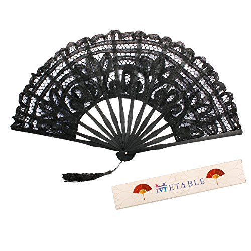 Metable Folding Fan Handmade Cotton Lace Embroidered with Bamboo Frame Women Hand Held Fans for Cosplay Dancing Props Wedding Gift(Black)