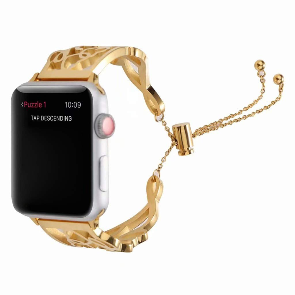 For Apple Watch Series 4 44mm, HHoo Love Style Bracelet, Milan Stainless Wristband with Beads Pull Buckle, Idea Gift for Girls and Female (Gold)