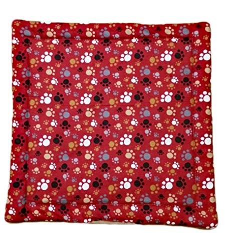 "Refillable Catnip Blanket - 17"" x 17"" Cat Play Mat - Kitty Lap Pad - 3 Layers - Machine Wash - Red Paw Print"