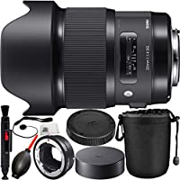 Sigma 20mm f/1.4 DG HSM Art Lens for Canon EF with MC-11 Mount Converter/Lens Adapter (Canon EF-Mount Lenses to Sony E) 8PC Bundle. Includes Manufacturer Accessories + Lens Pen + Dust Blower + MORE