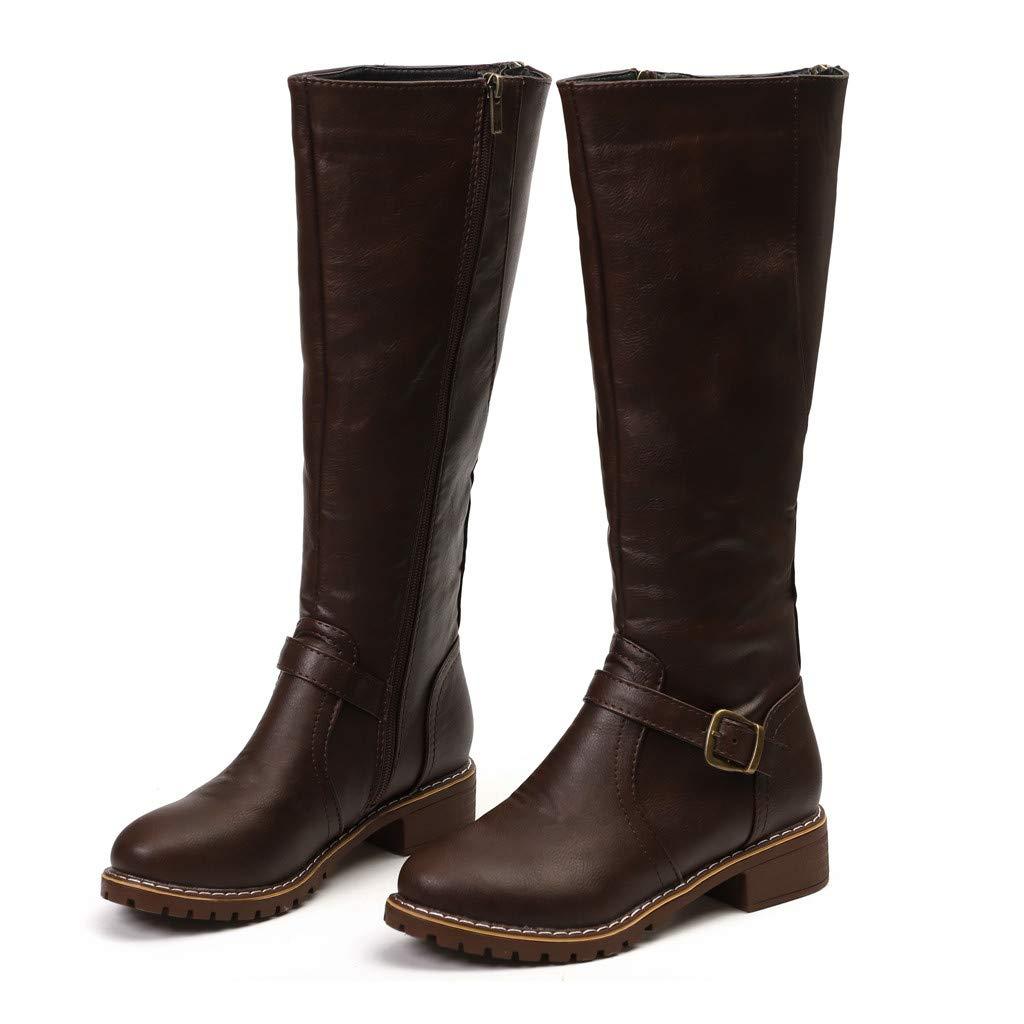 Damen Stiefel Leder Mit Absatz Langschaft Elegant Boots Frauen Weiter Schaft Rei/ßverschluss Winterstiefel
