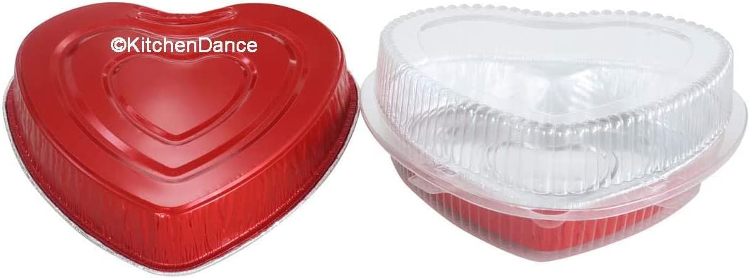 10, WITH CLAMSHELL CONTAINER Disposable Red Aluminum Heart Shaped Cake Pan 8 Size w//Lid options