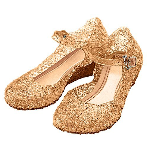 Girls Princess Elsa High Heels with Strap: Sparkly Glitter Shoes For Flower Girls, Halloween Costumes and Dress Up: (Gold) UK Size 12 by