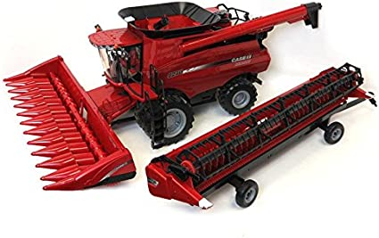 Amazon Com Ertl 1 16 Big Farm Case Ih 8240 Combine With Both Corn And Grain Headers And Header Trailer 46491 46622 Kit Toys Games