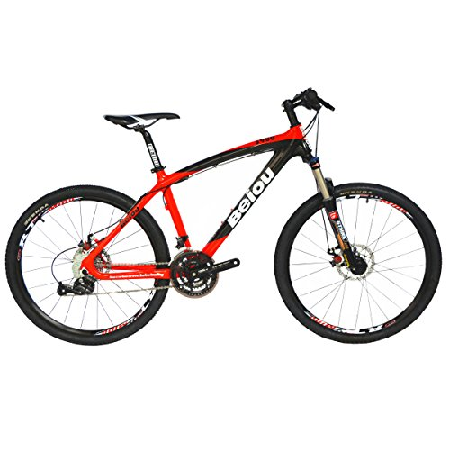 BEIOU Toray T700 Carbon Fiber Mountain Bike Complete Bicycle MTB 27 Speed 26-Inch Wheel Shimano 370 CB004G17X (Red, 17-Inch)