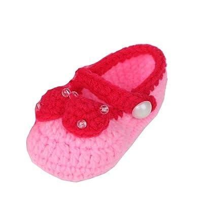 JTC Bébé Fille Chaussure Souple Tricot Manuel nœud de papillon en Velours(Longueur:11CM)-3 Couleurs (rose pâle)