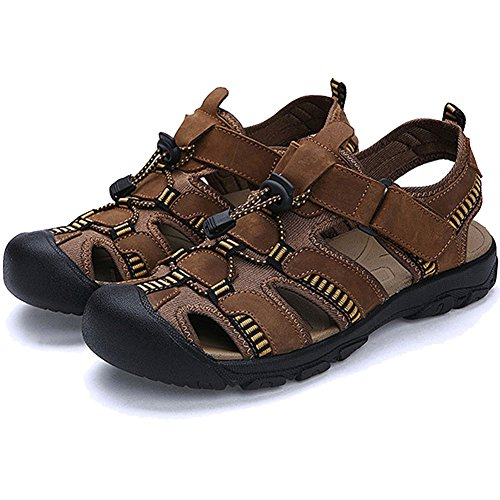 BE DREAMER Mens Sports Sandals Leather Sports Sandals Fisherman Breathable Beach Sandals Light Brown yPhILOcdR