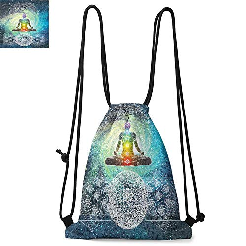 - Yoga Easy to carry drawstring backpac Mandala Design Zen Meditation Hippie Style with Sign Chakra Art Print Durable Drawstring Backpack W13.4 x L8.3 Inch Turquoise Dark Blue White