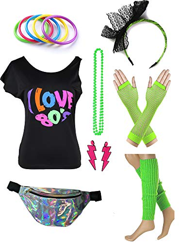 Womens 80s Accessories Set I Love The 80's T-Shirt with Neon Fanny Packs (S, Green) -