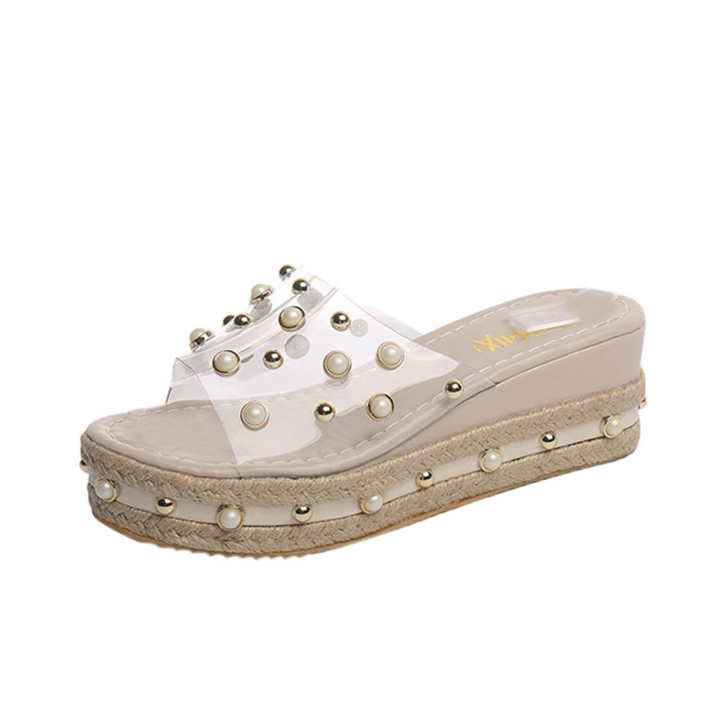 Summer Shoes,AIMTOPPY Pearl Sandals Thick Slope with Word Slipper Rhinestone Non-Slip Shoes for Women (US:5.5, Khaki)
