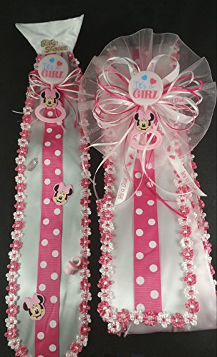 - Pink Its A Girl Baby Minnie Mouse Baby Shower Sash & Tie Set