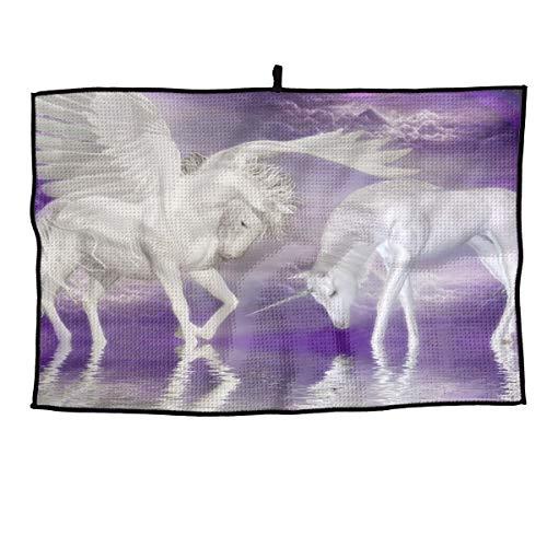 (Eplus Waffle Microfiber Golf Towel Light Weight & Quick Drying Unicorns Horse Rainbow Fantasy Cart Towel 15