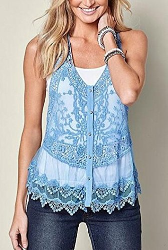 Fanfly Sexy Lace Tank Top Vest Women Cute Button Front Floral Crochet Cami Shirts (Tops Women Cute Tank)