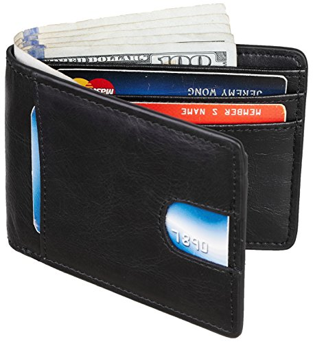 - Casmonal Mens Leather Wallet Slim Front Pocket Wallet Billfold RFID Blocking (vintage wax black)