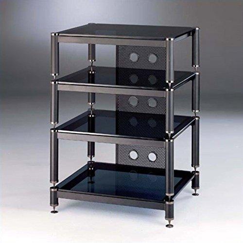 VTI BLG Series 4 Shelf Audio Rack with 13'' Bottom Shelf - Silver / Black / Black by VTI
