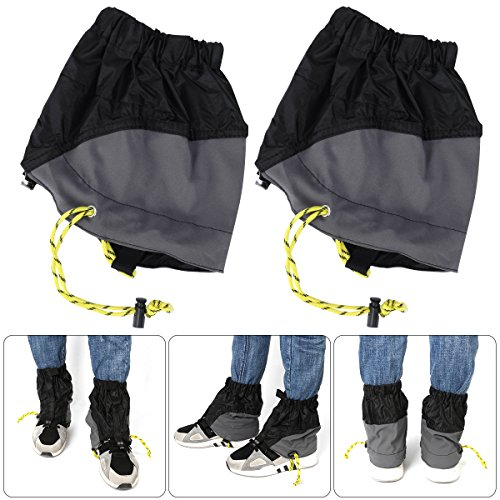 WINOMO Outdoor Gaiters Outdoor Waterproof Ankle Walking Gaiters Hiking (Black) 1 Pairs by WINOMO