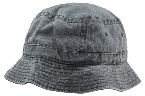 Black Washed Cotton Bucket Hat -Large 7 1/8 (Cheap Bucket Hats)