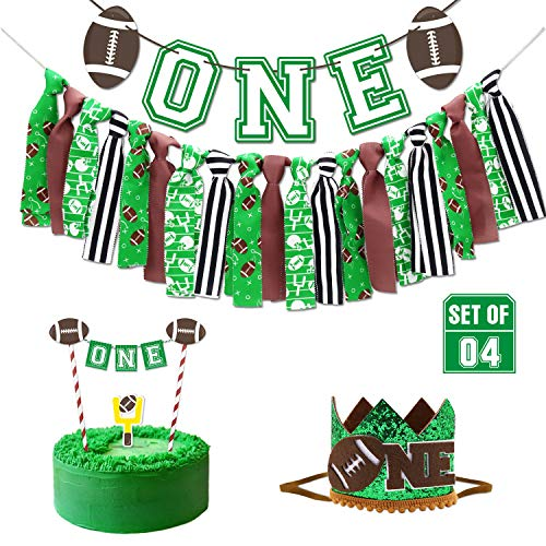 Vansolinne Football High Chair Banner Game Day Party Decorations Touchdown First Birthday Cake Smash Tailgate NFL Party Supplies Super Bowl Sunday Photo Booth Props for 1st Baby (Unique Birthday Party Themes For 1st Birthday)