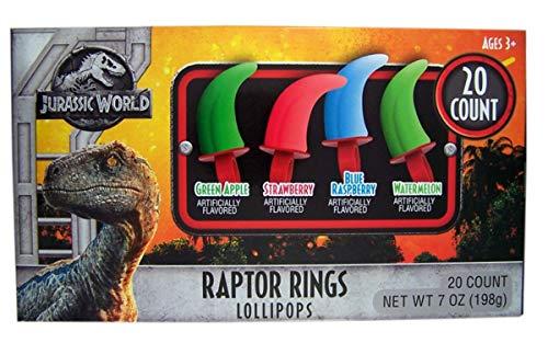 Jurassic World Assorted Flavor Dinosaur Raptor Ring Lollipop
