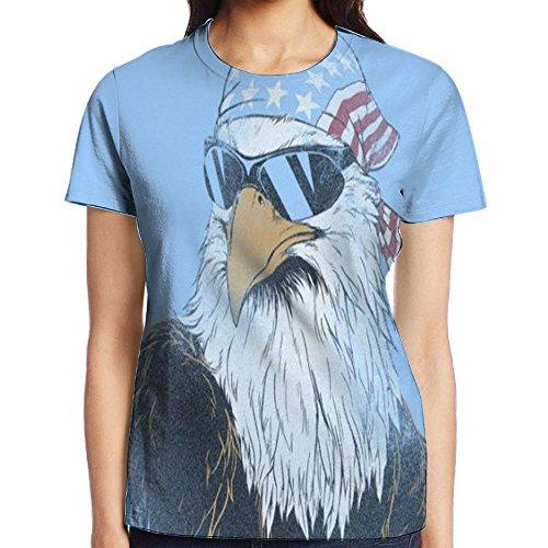 Cool Bald Eagle Hawk Wrapped American Flag Headscarf With Sunglasses Atlanta Tshirt Women Tee T Shirt - Atlanta Hawks Glass
