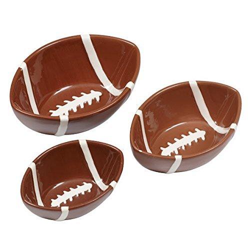 DII Design Imports Football Ceramic Nesting Small Snack Bowls Set of ()