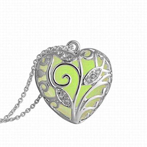 Malloom Magical Aqua Blue Tree Heart Glow In The Dark Locket Luminous Wicca Necklace -