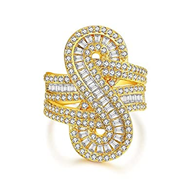 """Serend Symbol 8"""" Baguette Design Forever Infinity Ring with CZ Diamond, Size 7 to 9, Gift for Valentine Day"""
