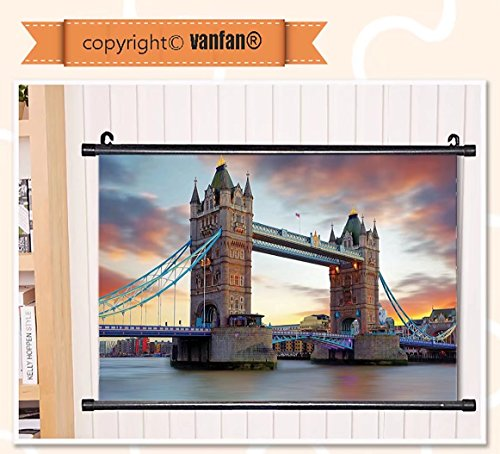 vanfan Wall Scroll Poster- London Decor the Big Ben and the Westminster Wall Art Waves Paiting on Canvas, Pictures Wall Hanging Canvas Scroll Paintings For Living - Westminster Delaware