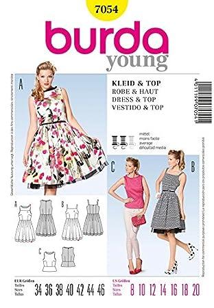Burda 7054 Schnittmuster für Damen, Kleid und Schößchen-Top, Retro ...