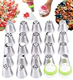 Russian Piping Tips Set 40 Piece Cake Baking Supplies - 23 Flower Icing Nozzles,15 Pastry Disposable Bags,2 Couplers Cookie Decorating Kit