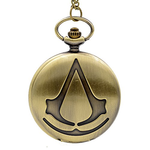 Cosplay Pocket Watch (Cosplay Game Theme Movie Assassin's Creed Quartz Pocket Watch Necklace Chain Men Xmas)