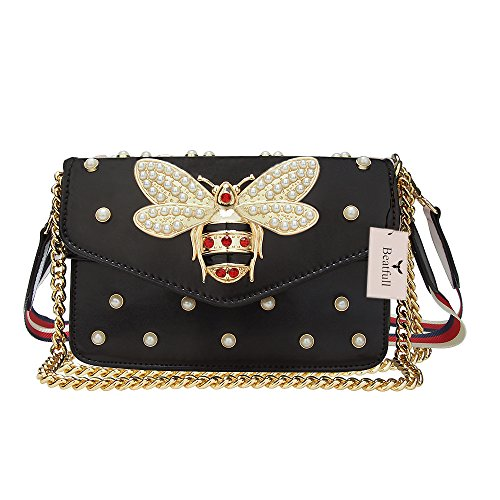 Beatfull Designer Pu Handbags for Women, Fashion Bee Leather Shoulder Bags Cross Body Bag with Pearl (Black)