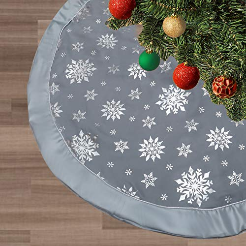FLASH WORLD Christmas Tree Skirt,48 inches Large Xmas Tree Skirts with Snowy Pattern for Christmas Tree Decorations (Grey-Three Cotton Layer) (Tree Skirt Pattern)
