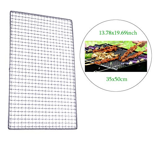 Vivian Barbecue Grids Metal Squares Holes Grilling Barbecue Wire Mesh Net (50x35cm) ()