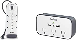 Belkin 12-Outlet USB Power Strip Surge Protector, Flat Plug, 6ft Cord (3,996 Joules), White & 3-Outlet Wall Mount Cradle Surge Protector with Dual USB Charging Ports (2.4 Amp Total)