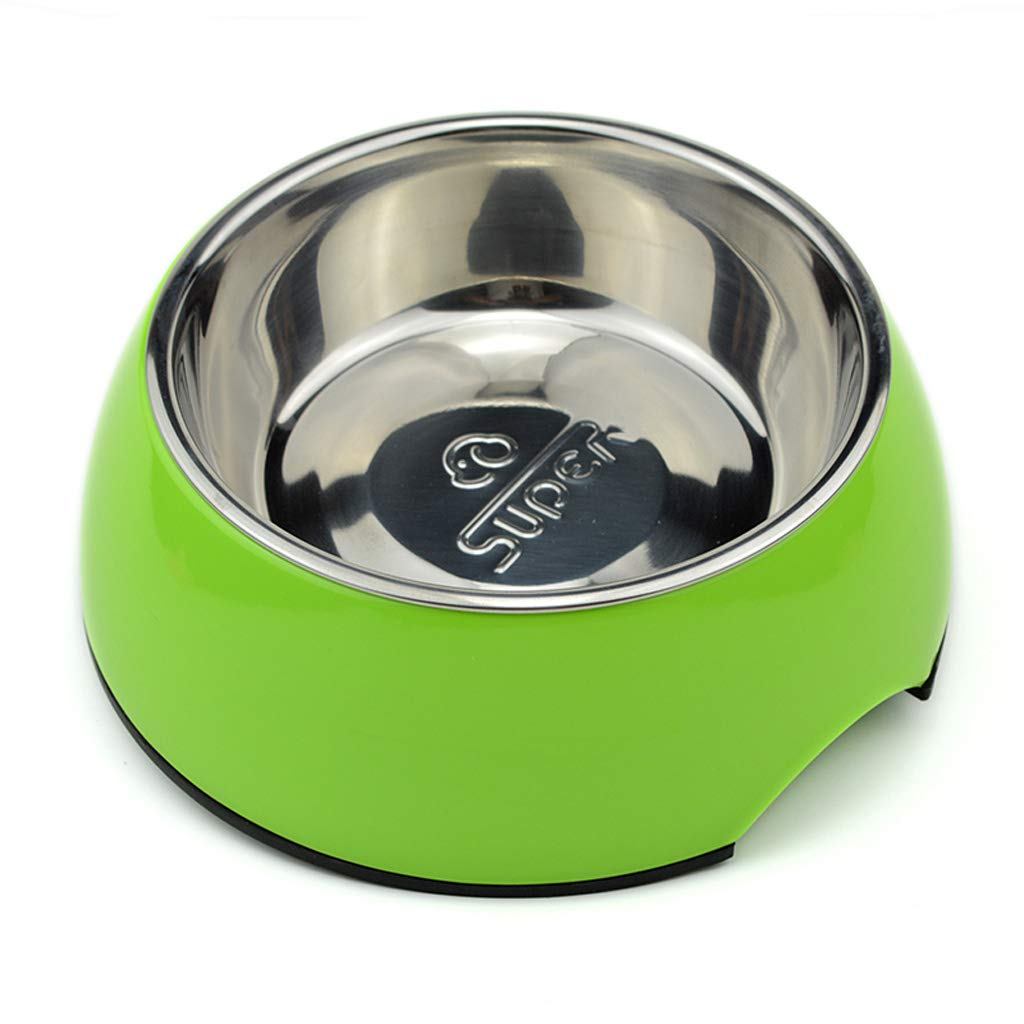 M Double-Layer Design Dog Bowl Single Bowl Stainless Steel Dog Food Bowl Resistant High and Low Temperature Cat Bowl Pet Bowl (Size   M)