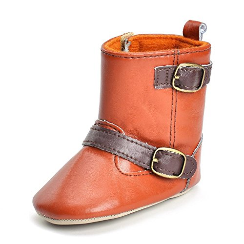 (Femoie Baby Infant Toddler Soft Sole Snow Boots West Cowboy Cowgirl Crib Shoes Prewalker (6-12 Months, Brown))