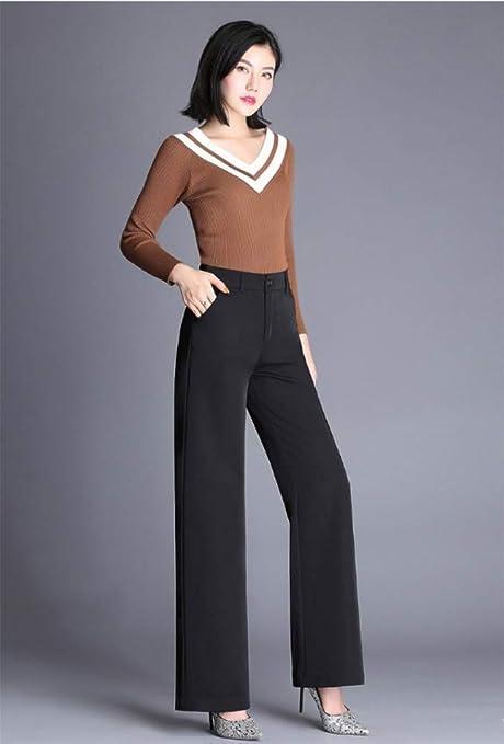 Fafwer Pantalones Elegante Dama Otono Pantalones De Pierna Ancha Mujer Cintura Alta Formal Flojo Delgado Ol Traje Negro Pantalones Pantalones De Gran Tamano S Amazon Es Deportes Y Aire Libre