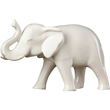 Fennco Styles Home Decor Tabletop White Charming Sleek Ceramic Elephant  Statue
