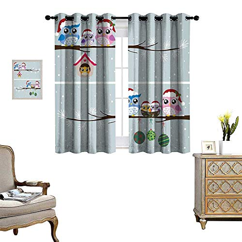 homehot Christmas Room Darkening Wide Curtains Owl Family with Santa Hats on Tree Branch with Babies in Nest Birds Snowy Winter Print Customized Curtains Grey -