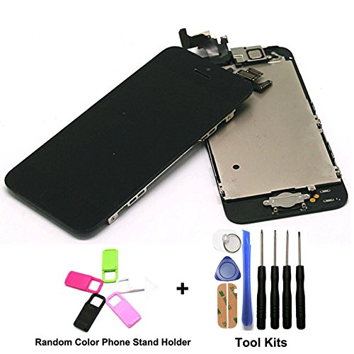 cellphoneage¨Black LCD Display + Digitizer Touch Screen Replacement + Camera FaceTime and Home Button Pre-Installed