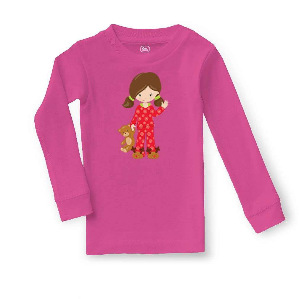 Girl Red Pajama Brown Cotton Crewneck Boys-Girls Sleepwear Pajama 2 Pcs Set