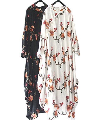 Yesno TD9 Women Long Chi-Pao Dress Chinese Traditional Frog Handmade Embroidery 2 Layer 100% Cotton