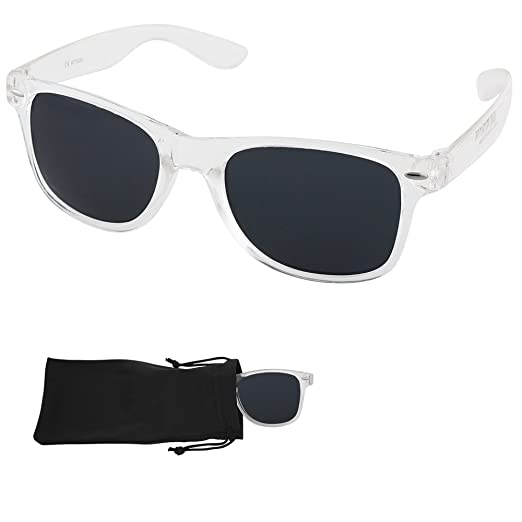 2ce9e077f0 Wayfarer Sunglasses - Smoke Lenses with Plastic Transparent Frames - UV Ray  Protected Shades For Men