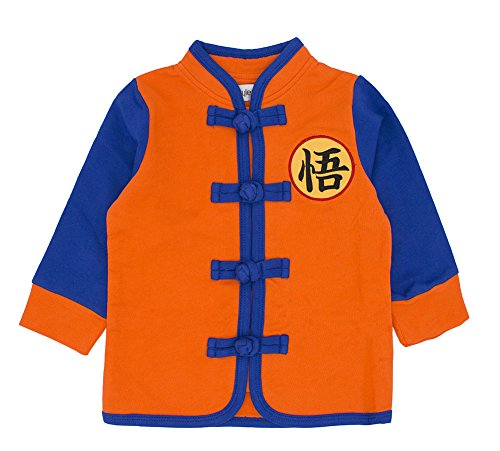 stylesilove Young Kids Baby Boys Traditional Asian Inspired Long Sleeved Top Sweatshirt, 3 Designs (130/5-6y, Son Goku (Inspired Cloth)