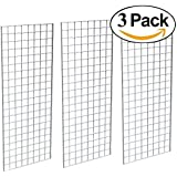 Grid Panel for Retail Display – Perfect Metal Grid for Any Retail Display, 2' Width x 5' Height, 3 Grids Per Carton (Chrome)